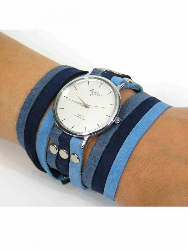 Blue leather watch by sigal levi leather design