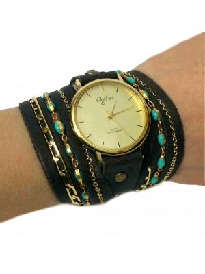 Dark Brown decorated wrap watch with turquoise beads chain