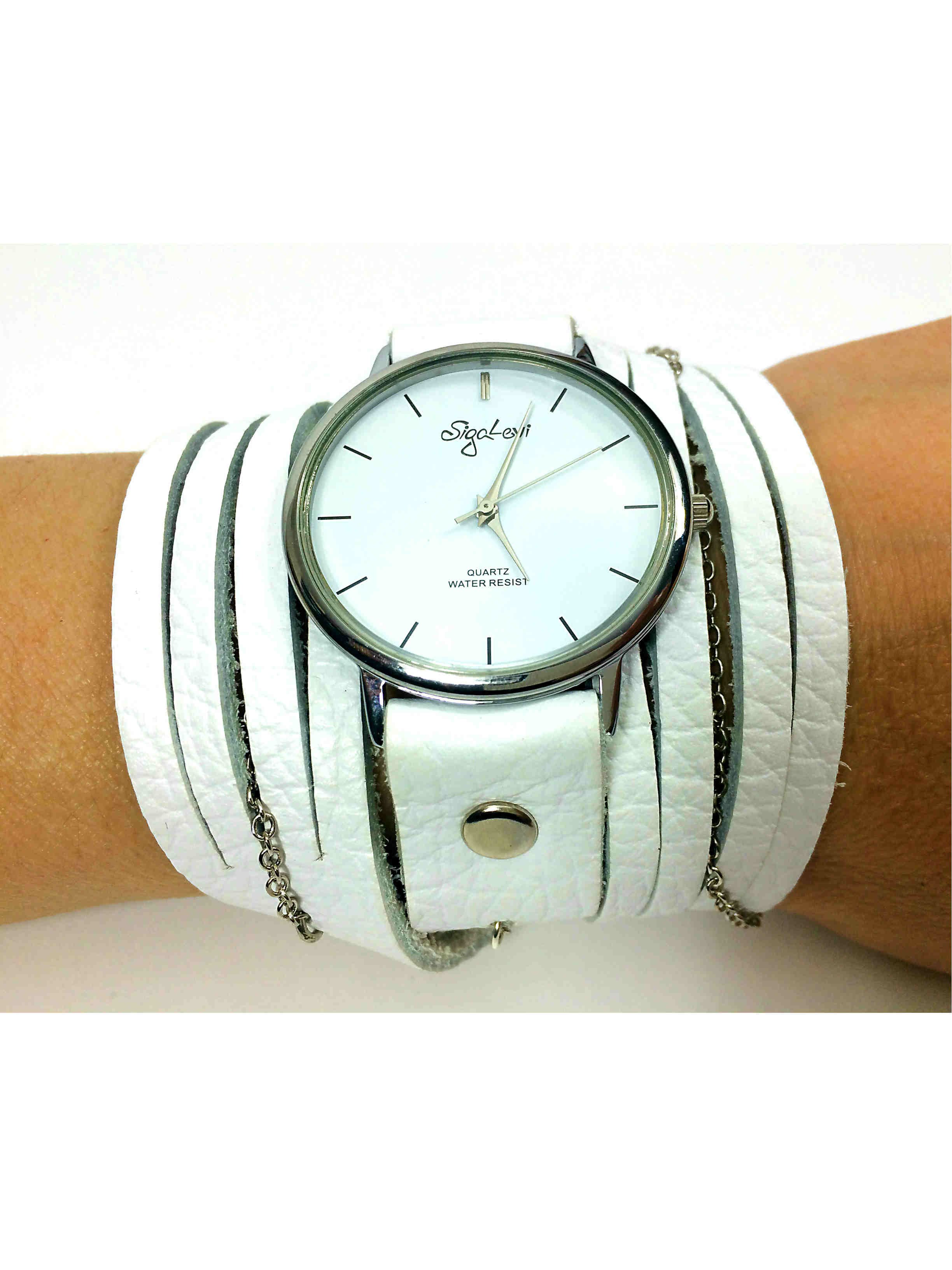 White leather wrap watch sigal levi leather design