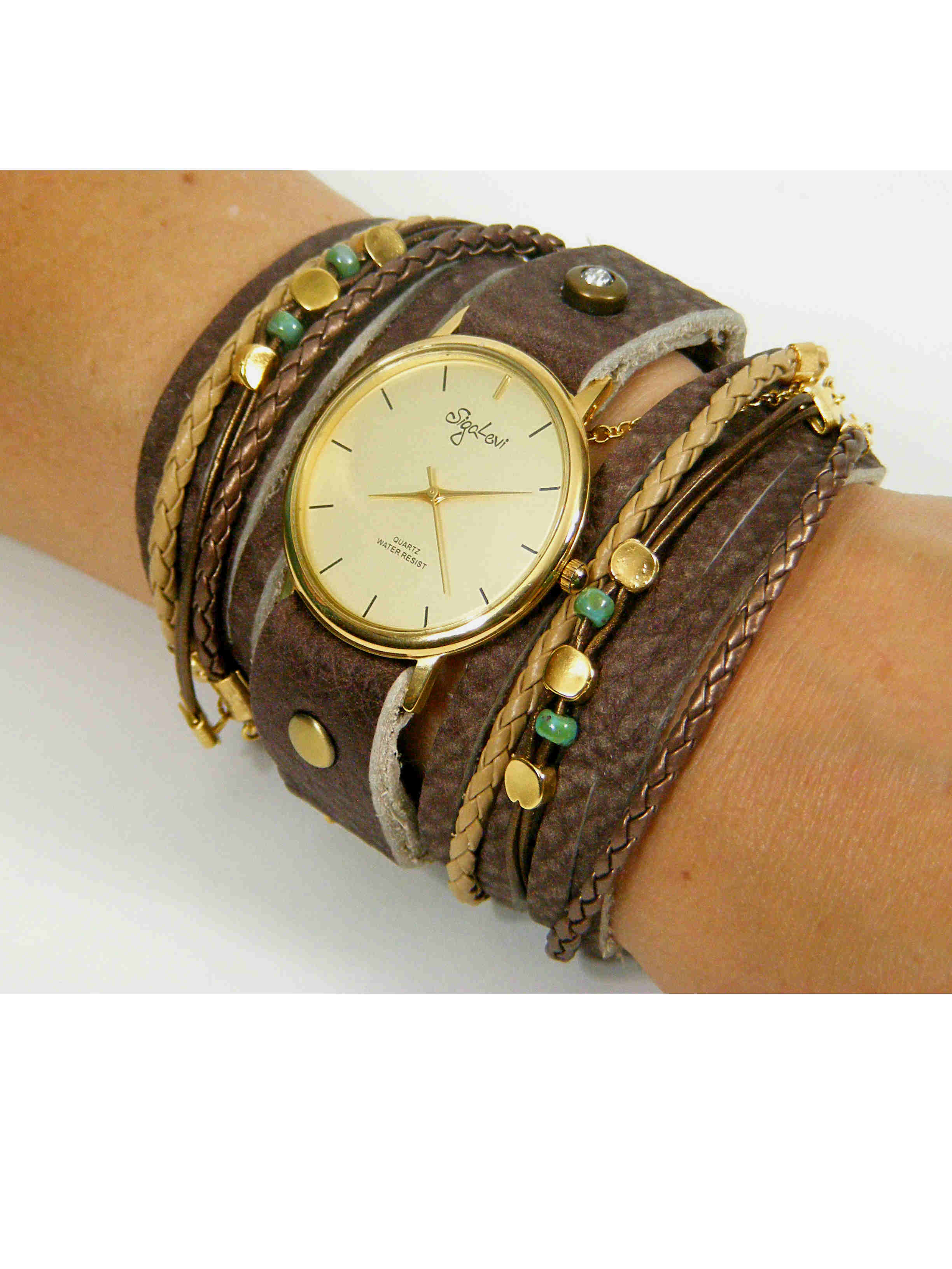 Wrap Watch In Brown Leather sigal levi leather design