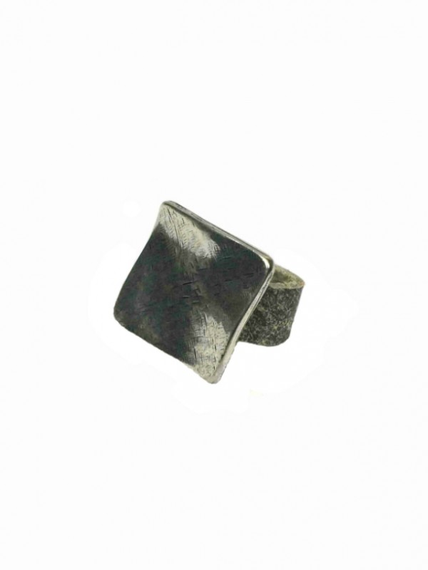 silvered square element leather ring by sigal levi