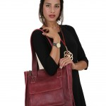 Model with Maroon Sigal Levi bag