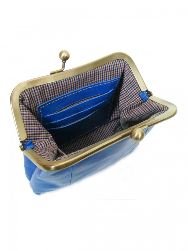 Blue Leather Purse from Sigal Levi Leather Design Open2