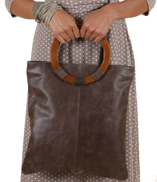 Brown leather Bag with Wooden Handles
