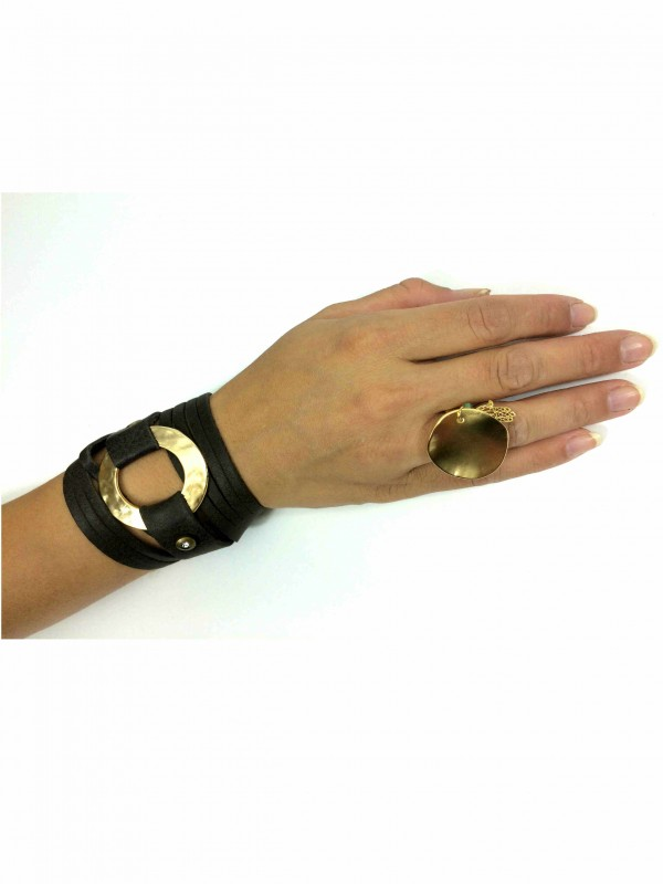 Gold and Leather Bracelet combination by sigal levi