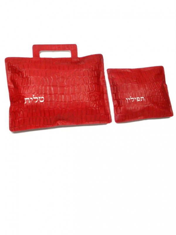 Red Leather Tefillin Tallit Bags in bricks texture