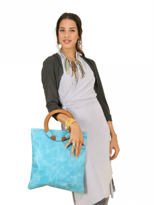 pale blue leather bag on model