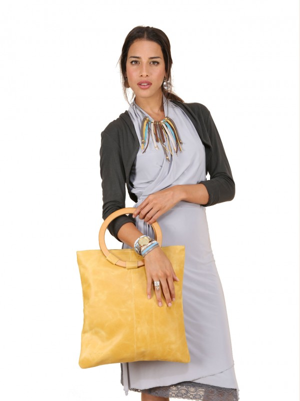 yellow sigal levi leather bag on model