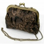 Brown leather purse in snake like skin texture view2