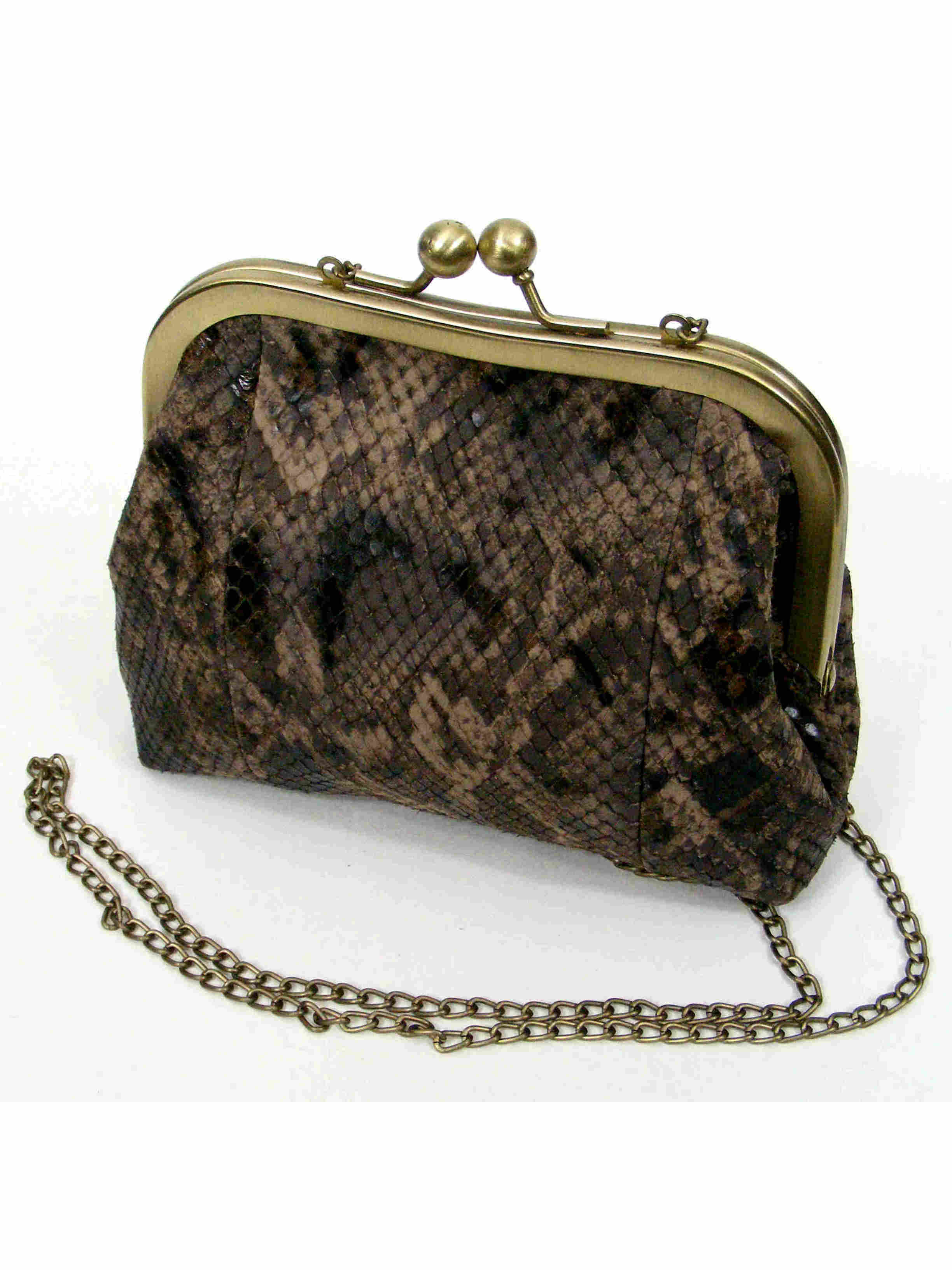 Leather Purse in Snake Skin Pattern - Sigal Levi Leather ...