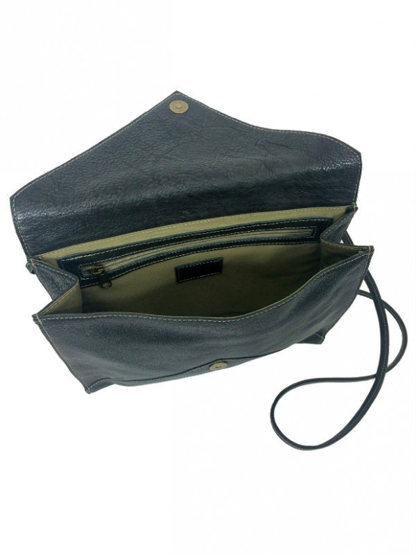 Envelope Clutch Purse in Coal Black Leather open view 1