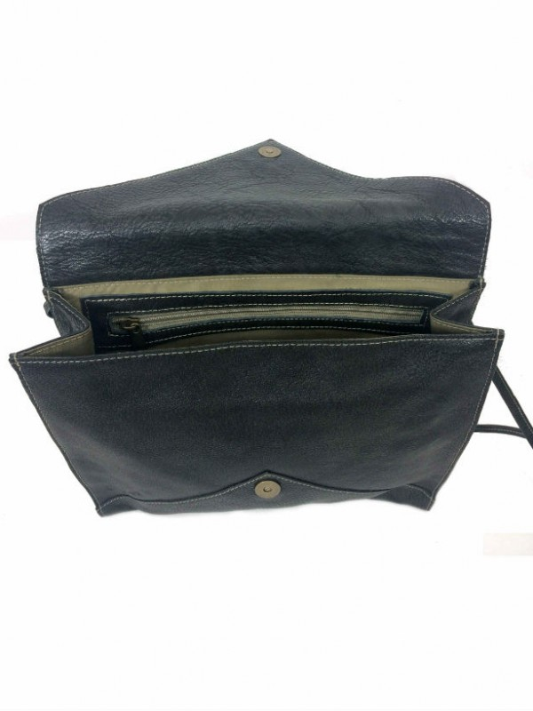 Envelope Clutch Purse in Coal Black Leather open view 2