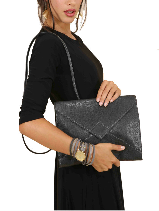 Envelope Clutch Purse in Coal Black Leather
