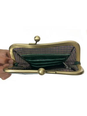 Dark Green leather clutch open view