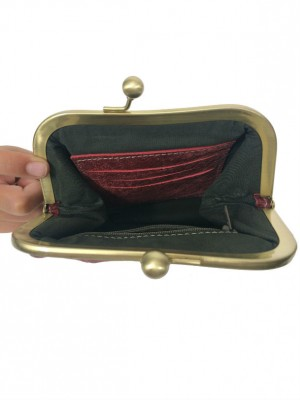 Maroon leather clutch purse open view