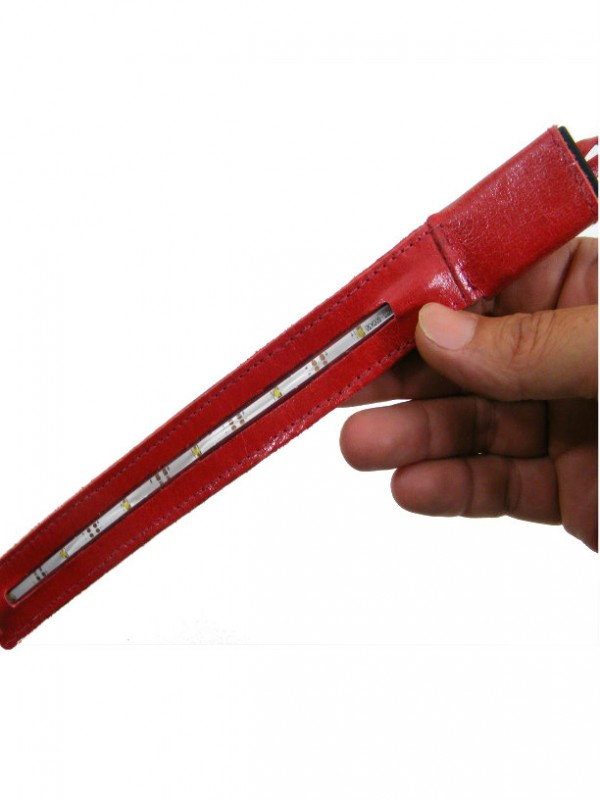bag led flashlight in red leather