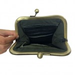 black leather clutch open view