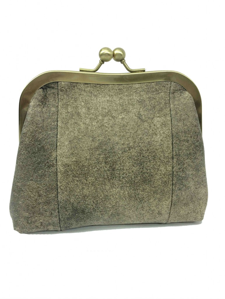 leather clutch purse in stone color by sigal levi