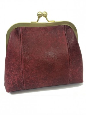 maroon leather clutch sigal levi