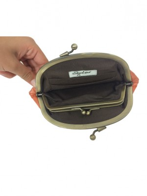 soft leather clutch open view