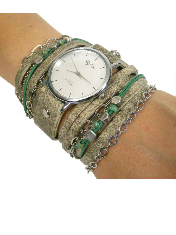 Wrap Watch Leather in Stone Color and Beads