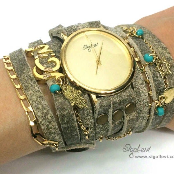 Wrap Leather Watch In Stone Color and Name