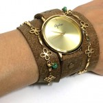 wrap watch with floral decoration and camel color leather