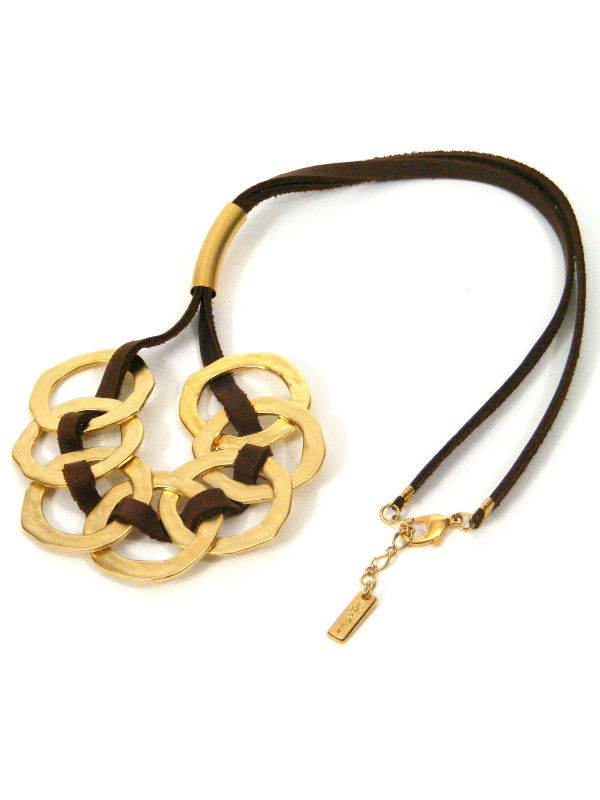 Golden Rings Leather Necklace