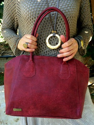 Maroon Leather Tote shown on model