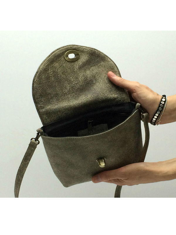 Small Shoulder Bag In Stone Color Leather Open2